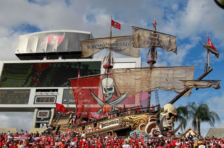Dec 27, 2015; Tampa, FL, USA; Tampa Bay Buccaneers pirate ship during the second half against the Chicago Bears at Raymond James Stadium. Mandatory Credit: Kim Klement-USA TODAY Sports
