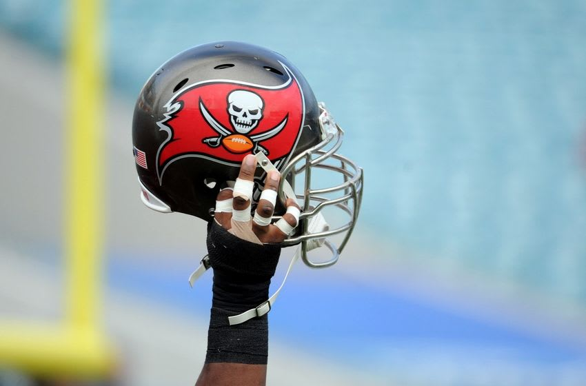 Aug 8, 2014; Jacksonville, FL, USA; Tampa Bay Buccaneers helmet prior to the preseason game against the Jacksonville Jaguars at EverBank Field. Mandatory Credit: Melina Vastola-USA TODAY Sports