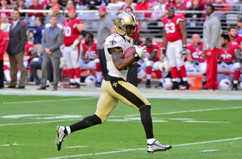 Dec 18, 2016; Glendale, AZ, USA; New Orleans Saints wide receiver Brandin Cooks (10) carries the ball after a catch for a touchdown in the first half against the Arizona Cardinals at University of Phoenix Stadium. Mandatory Credit: Matt Kartozian-USA TODAY Sports
