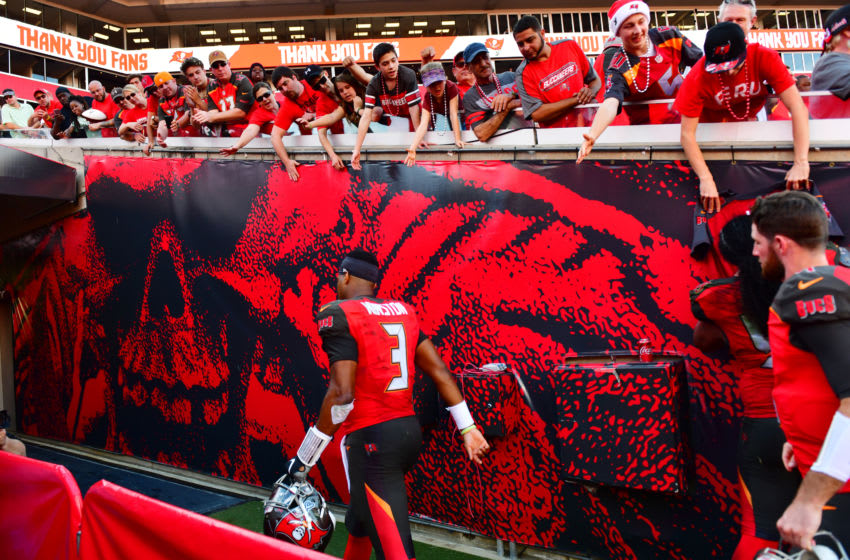 TAMPA, FLORIDA - DECEMBER 30: Jameis Winston #3 of the Tampa Bay Buccaneers walks off the field after the last regular season game against the Atlanta Falcons at Raymond James Stadium on December 30, 2018 in Tampa, Florida. The Buccaneers lost 32-34.(Photo by Julio Aguilar/Getty Images)