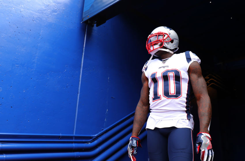 BUFFALO, NEW YORK - SEPTEMBER 29: Josh Gordon #10 of the New England Patriots enters the field prior to the game against the Buffalo Bills at New Era Field on September 29, 2019 in Buffalo, New York. (Photo by Brett Carlsen/Getty Images)