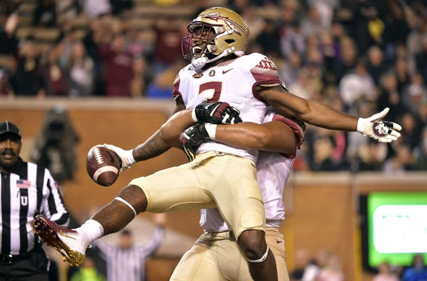 WINSTON SALEM, NORTH CAROLINA - OCTOBER 19: Cam Akers #3 of the Florida State Seminoles reacts after scoring a touchdown against the Wake Forest Demon Deacons during the first half of their game at BB&T Field on October 19, 2019 in Winston Salem, North Carolina. (Photo by Grant Halverson/Getty Images)