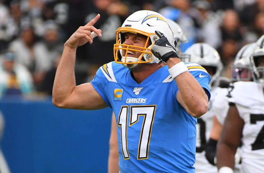 CARSON, CA - DECEMBER 22: Quarterback Philip Rivers #17 of the Los Angeles Chargers gestures as he can't hear the play call because of noise in the second half of the game against the Oakland Raiders at Dignity Health Sports Park on December 22, 2019 in Carson, California. (Photo by Jayne Kamin-Oncea/Getty Images)