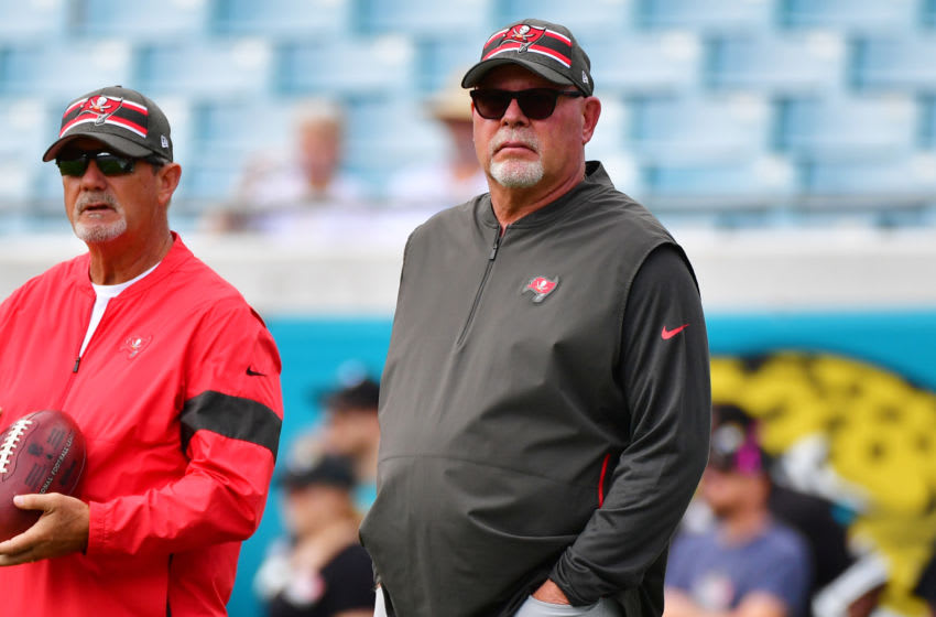 JACKSONVILLE, FLORIDA - DECEMBER 01: Head coach Bruce Arians of the Tampa Bay Buccaneers looks on during warmups before a football game against the Jacksonville Jaguars at TIAA Bank Field on December 01, 2019 in Jacksonville, Florida. (Photo by Julio Aguilar/Getty Images)