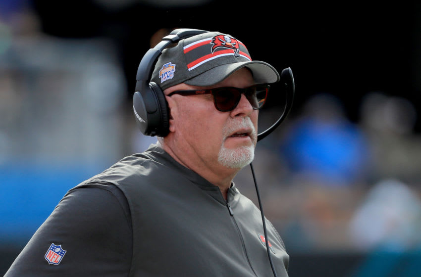 JACKSONVILLE, FLORIDA - DECEMBER 01: Head coach Bruce Arians of the Tampa Bay Buccaneers watches the action during the game against the Jacksonville Jaguars at TIAA Bank Field on December 01, 2019 in Jacksonville, Florida. (Photo by Sam Greenwood/Getty Images)