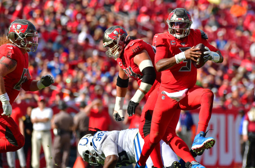 TAMPA, FLORIDA - DECEMBER 08: Jameis Winston #3 of the Tampa Bay Buccaneers scrambles to throw a pass during the second quarter of a football game against the Indianapolis Colts at Raymond James Stadium on December 08, 2019 in Tampa, Florida. (Photo by Julio Aguilar/Getty Images)