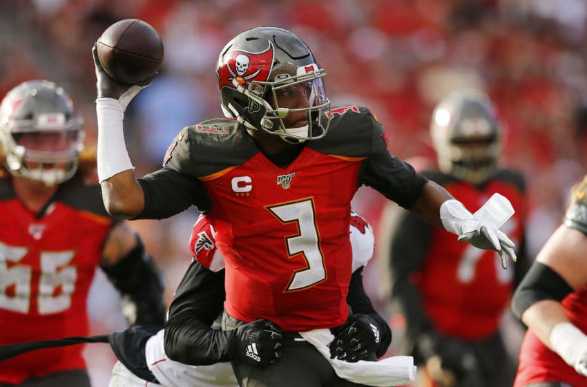 TAMPA, FLORIDA - DECEMBER 29: Jameis Winston #3 of the Tampa Bay Buccaneers throws a pass under pressure against the Atlanta Falcons during the second half at Raymond James Stadium on December 29, 2019 in Tampa, Florida. (Photo by Michael Reaves/Getty Images)
