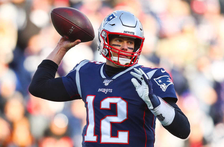 FOXBOROUGH, MA - DECEMBER 29: Tom Brady #12 of the New England Patriots throws the ball during a game against the Miami Dolphins at Gillette Stadium on December 29, 2019 in Foxborough, Massachusetts. (Photo by Adam Glanzman/Getty Images)