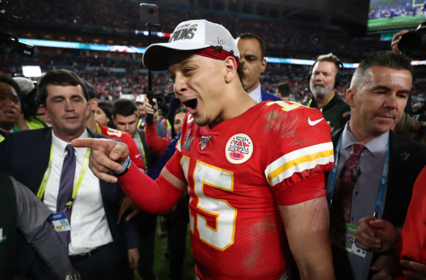 MIAMI, FLORIDA - FEBRUARY 02: Patrick Mahomes #15 of the Kansas City Chiefs celebrates after defeating San Francisco 49ers 31-20 in Super Bowl LIV at Hard Rock Stadium on February 02, 2020 in Miami, Florida. (Photo by Jamie Squire/Getty Images)