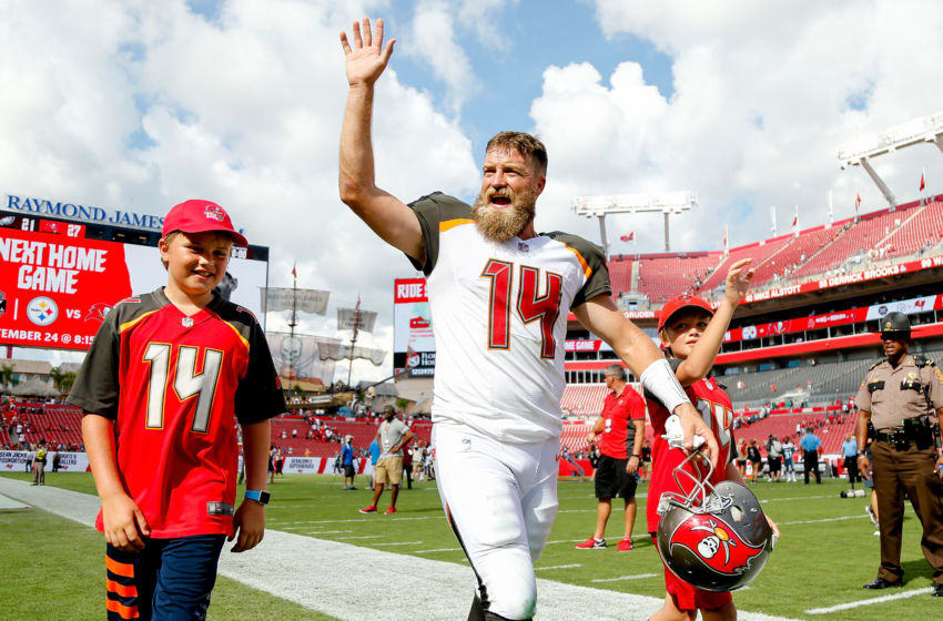 TAMPA, FL - SEPTEMBER 16: Ryan Fitzpatrick #14 of the Tampa Bay Buccaneers waves to the crowd after they defeated the Philadelphia Eagles 27-21 at Raymond James Stadium on September 16, 2018 in Tampa, Florida. (Photo by Michael Reaves/Getty Images)
