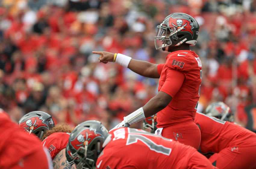 TAMPA, FLORIDA - DECEMBER 09: Jameis Winston #3 of the Tampa Bay Buccaneers points while calling a play during the first quarter against the New Orleans Saints at Raymond James Stadium on December 09, 2018 in Tampa, Florida. (Photo by Mike Ehrmann/Getty Images)