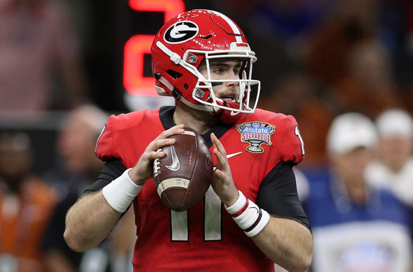 NEW ORLEANS, LOUISIANA - JANUARY 01: Jake Fromm #11 of the Georgia Bulldogs throws a pass against the Texas Longhorns during the Allstate Sugar Bowl at Mercedes-Benz Superdome on January 01, 2019 in New Orleans, Louisiana. (Photo by Chris Graythen/Getty Images)