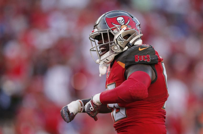 TAMPA, FLORIDA - SEPTEMBER 22: Shaquil Barrett #58 of the Tampa Bay Buccaneers reacts after sacking Daniel Jones #8 of the New York Giants (not pictured) during the fourth quarter at Raymond James Stadium on September 22, 2019 in Tampa, Florida. (Photo by Michael Reaves/Getty Images)