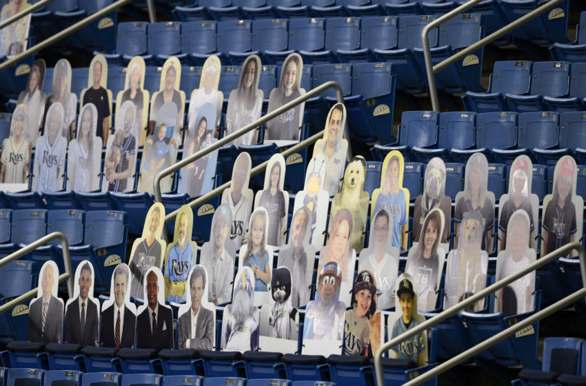 ST PETERSBURG, FLORIDA - AUGUST 04: General view of cardboard cut out fans in the stands prior to the game between the Tampa Bay Rays and the Boston Red Sox at Tropicana Field on August 04, 2020 in St Petersburg, Florida. (Photo by Douglas P. DeFelice/Getty Images)