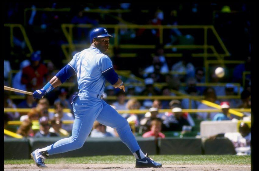 1990: Bo Jackson of the Kansas City Royals in action during a game at Royals Stadium in Kansas City, Missouri. Mandatory Credit: Jonathan Daniel /Allsport