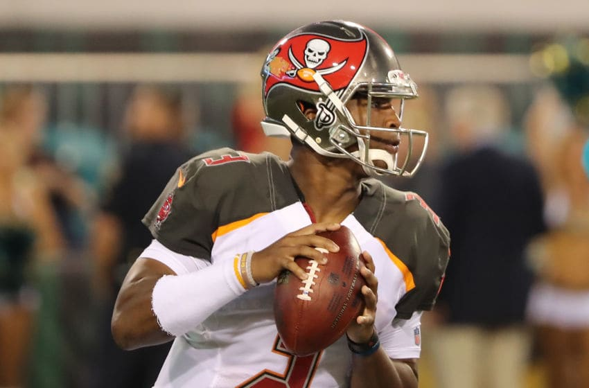 JACKSONVILLE, FL - AUGUST 17: Jameis Winston #3 of the Tampa Bay Buccaneers attempts a pass during a preseason game against the Jacksonville Jaguars at EverBank Field on August 17, 2017 in Jacksonville, Florida. (Photo by Sam Greenwood/Getty Images)