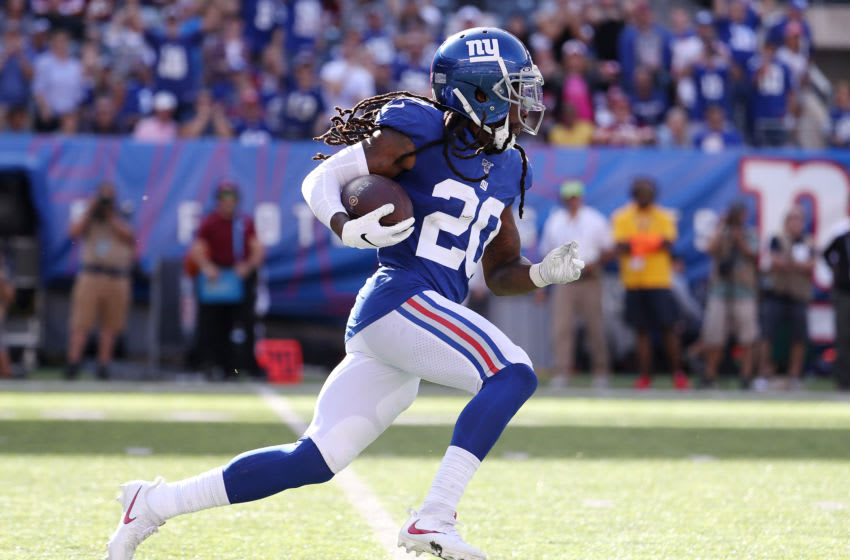 EAST RUTHERFORD, NEW JERSEY - SEPTEMBER 29: Janoris Jenkins #20 of the New York Giants intercepts and runs back the ball against the Washington Redskins during their game at MetLife Stadium on September 29, 2019 in East Rutherford, New Jersey. (Photo by Al Bello/Getty Images)