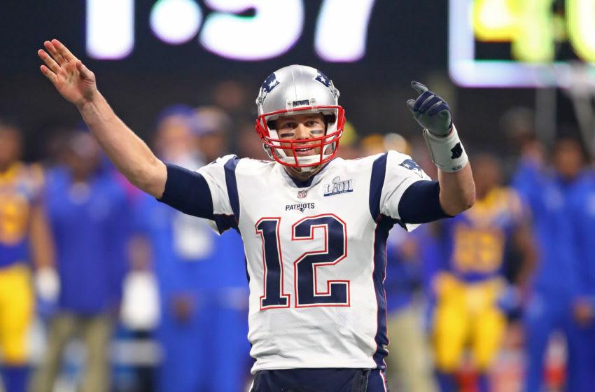 Feb 3, 2019; Atlanta, GA, USA; New England Patriots quarterback Tom Brady (12) reacts against the Los Angeles Rams in Super Bowl LIII at Mercedes-Benz Stadium. Mandatory Credit: Mark J. Rebilas-USA TODAY Sports