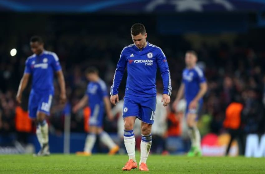 LONDON, ENGLAND - MARCH 09: A dejected looking Eden Hazard of Chelsea during the UEFA Champions League match between Chelsea and Paris Saint-Germain at Stamford Bridge on March 9, 2016 in London, United Kingdom. (Photo by Catherine Ivill - AMA/Getty Images)