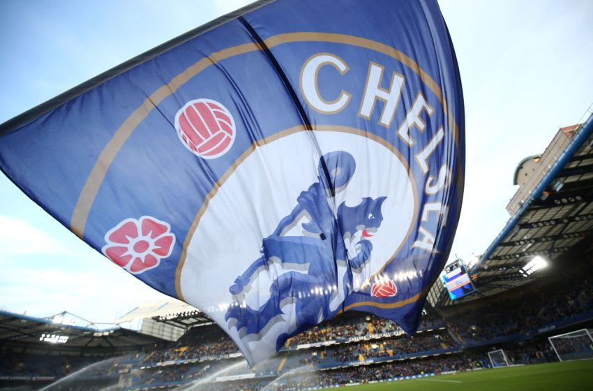 A giant Chelsea flag flies before kick off of the English Premier League football match between Chelsea and Everton at Stamford Bridge in London on January 16, 2016. AFP PHOTO / JUSTIN TALLIS RESTRICTED TO EDITORIAL USE. No use with unauthorized audio, video, data, fixture lists, club/league logos or 'live' services. Online in-match use limited to 75 images, no video emulation. No use in betting, games or single club/league/player publications. / AFP / JUSTIN TALLIS (Photo credit should read JUSTIN TALLIS/AFP/Getty Images)