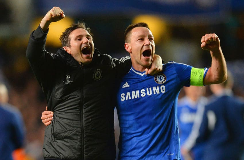 LONDON, ENGLAND - APRIL 08: Frank Lampard and John Terry of Chelsea celebrate victory during the UEFA Champions League Quarter Final second leg match between Chelsea and Paris Saint-Germain FC at Stamford Bridge on April 8, 2014 in London, England. (Photo by Mike Hewitt/Getty Images)