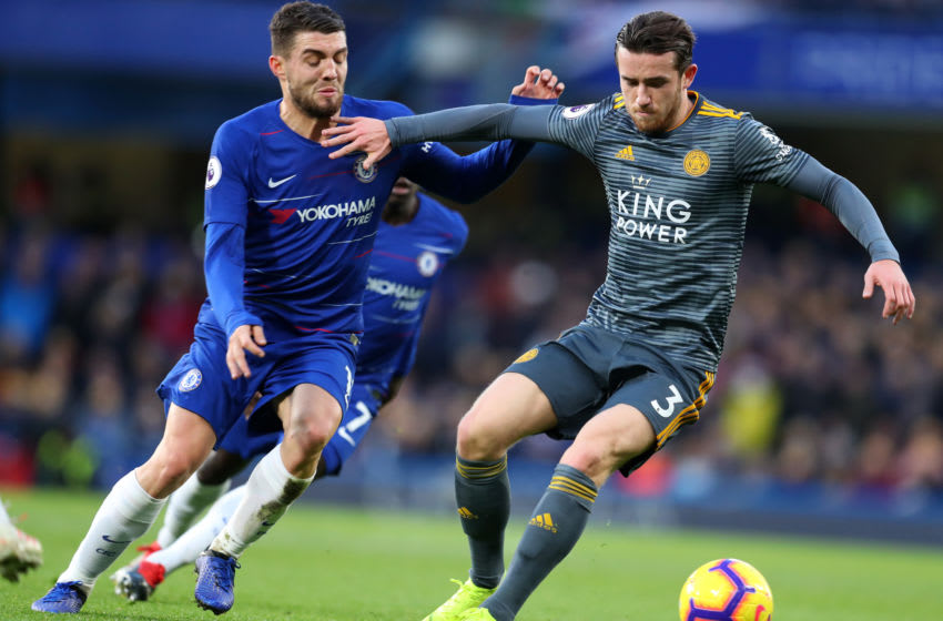 LONDON, ENGLAND - DECEMBER 22: Ben Chilwell of Leicester City holds off Mateo Kovacic of Chelsea during the Premier League match between Chelsea FC and Leicester City at Stamford Bridge on December 22, 2018 in London, United Kingdom. (Photo by Catherine Ivill/Getty Images)