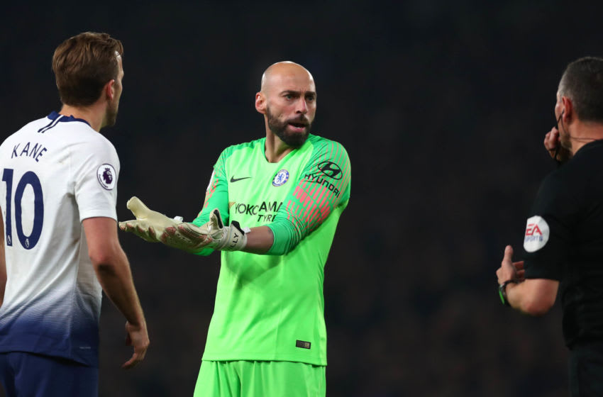 LONDON, ENGLAND - FEBRUARY 27: Willy Caballero of Chelsea reacts during the Premier League match between Chelsea FC and Tottenham Hotspur at Stamford Bridge on February 27, 2019 in London, United Kingdom. (Photo by Clive Rose/Getty Images)