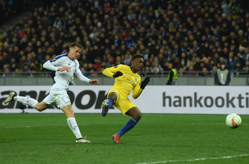 KIEV, UKRAINE - MARCH 14: Callum Hudson-Odoi of Chelsea scores his team's fifth goal during the UEFA Europa League Round of 16 Second Leg match between Dynamo Kyiv and Chelsea at NSC Olimpiyskiy Stadium on March 14, 2019 in Kiev, Ukraine. (Photo by Mike Hewitt/Getty Images)