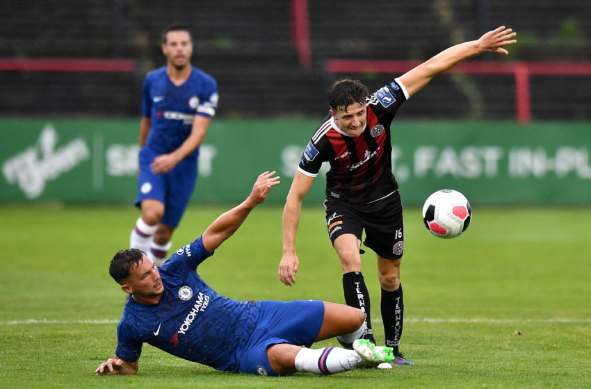 DUBLIN, IRELAND - JULY 10: Keith Buckley of Bohemians FC is challenged by Danny Drinkwater of Chelsea during the Pre-Season Friendly match between Bohemians FC and Chelsea FC at Dalymount Park on July 10, 2019 in Dublin, Ireland. (Photo by Charles McQuillan/Getty Images)