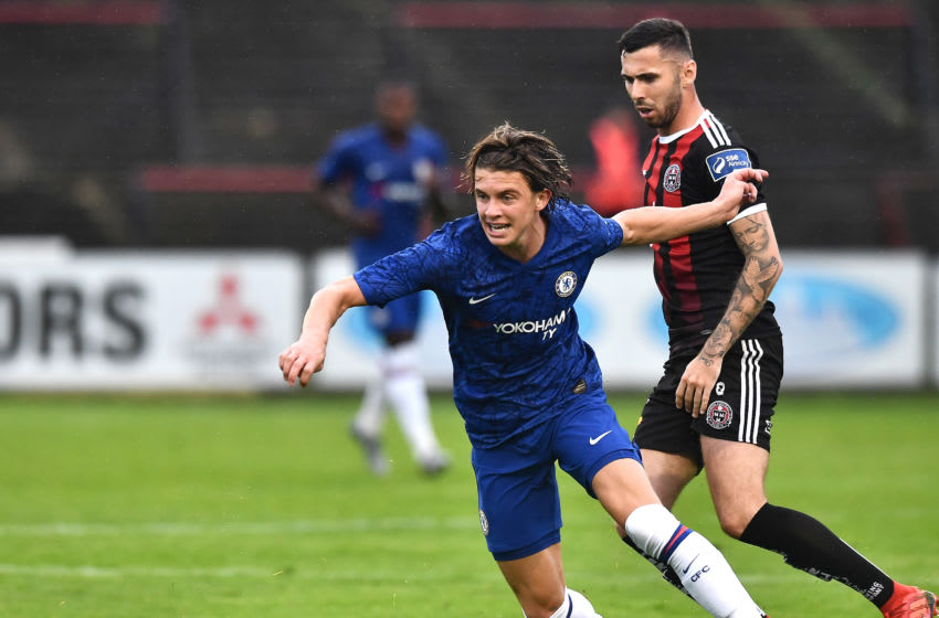 DUBLIN, IRELAND - JULY 10: Conor Gallagher of Chelsea is challenged by Robbie McCourt of Bohemians FC during the Pre-Season Friendly match between Bohemians FC and Chelsea FC at Dalymount Park on July 10, 2019 in Dublin, Ireland. (Photo by Charles McQuillan/Getty Images)