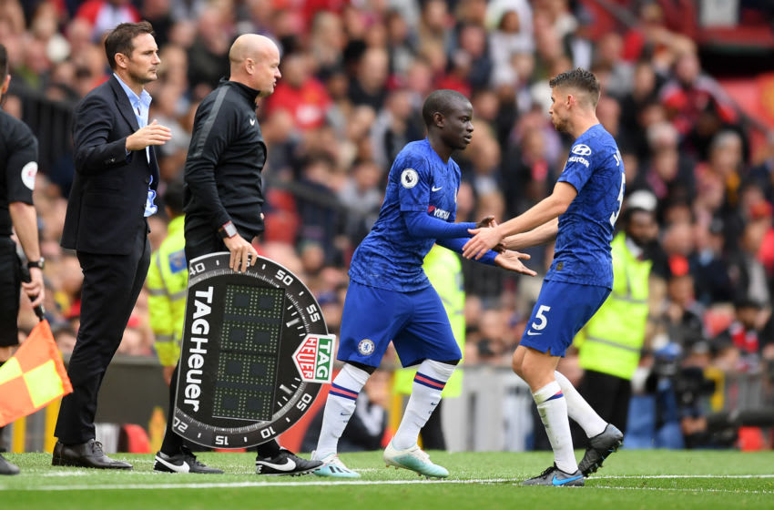 MANCHESTER, ENGLAND - AUGUST 11: Jorginho of Chelsea is substituted off for N'Golo Kante of Chelsea during the Premier League match between Manchester United and Chelsea FC at Old Trafford on August 11, 2019 in Manchester, United Kingdom. (Photo by Michael Regan/Getty Images)