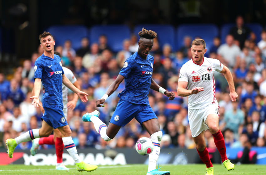 LONDON, ENGLAND - AUGUST 31: Tammy Abraham of Chelsea scores his team's second goal during the Premier League match between Chelsea FC and Sheffield United at Stamford Bridge on August 31, 2019 in London, United Kingdom. (Photo by Clive Rose/Getty Images)