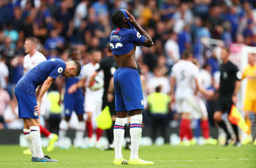 LONDON, ENGLAND - AUGUST 31: Fikayo Tomori of Chelsea reacts during the Premier League match between Chelsea FC and Sheffield United at Stamford Bridge on August 31, 2019 in London, United Kingdom. (Photo by Clive Rose/Getty Images)