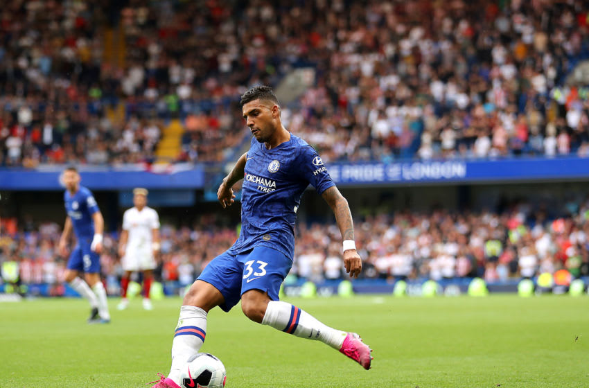 LONDON, ENGLAND - AUGUST 31: Emerson of Chelsea in action during the Premier League match between Chelsea FC and Sheffield United at Stamford Bridge on August 31, 2019 in London, United Kingdom. (Photo by Warren Little/Getty Images)