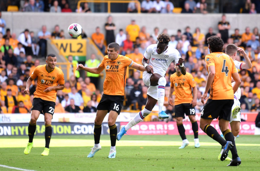 WOLVERHAMPTON, ENGLAND - SEPTEMBER 14: Tammy Abraham of Chelsea scores his team's third goal during the Premier League match between Wolverhampton Wanderers and Chelsea FC at Molineux on September 14, 2019 in Wolverhampton, United Kingdom. (Photo by Laurence Griffiths/Getty Images)