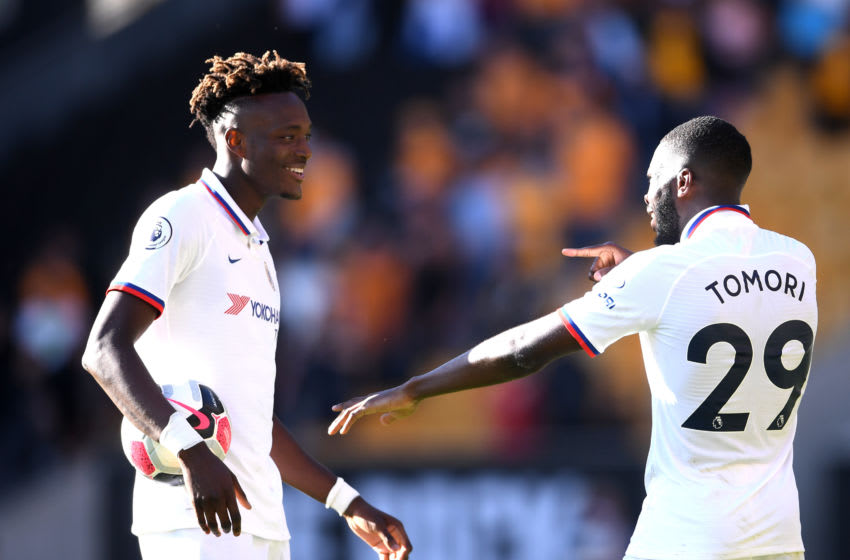 WOLVERHAMPTON, ENGLAND - SEPTEMBER 14: Tammy Abraham and Fikayo Tomori of Chelsea celebrate following their sides victory in the Premier League match between Wolverhampton Wanderers and Chelsea FC at Molineux on September 14, 2019 in Wolverhampton, United Kingdom. (Photo by Laurence Griffiths/Getty Images)