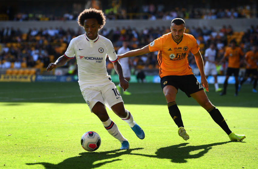 WOLVERHAMPTON, ENGLAND - SEPTEMBER 14: Willian of Chelsea in action during the Premier League match between Wolverhampton Wanderers and Chelsea FC at Molineux on September 14, 2019 in Wolverhampton, United Kingdom. (Photo by Clive Mason/Getty Images)