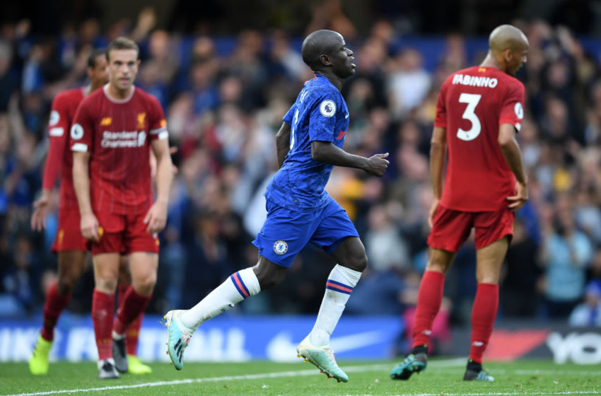 LONDON, ENGLAND - SEPTEMBER 22: N'Golo Kante of Chelsea celebrates after scoring his team's first goal during the Premier League match between Chelsea FC and Liverpool FC at Stamford Bridge on September 22, 2019 in London, United Kingdom. (Photo by Laurence Griffiths/Getty Images)