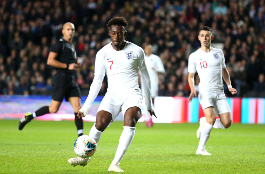 MILTON KEYNES, ENGLAND - OCTOBER 15: Callum Hudson-Odoi of England scores his sides first goal during the UEFA Under 21 Championship Qualifier between England and Austria at Stadium MK on October 15, 2019 in Milton Keynes, England. (Photo by Alex Pantling/Getty Images)