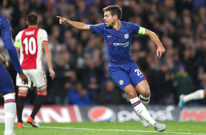 LONDON, ENGLAND - NOVEMBER 05: Cesar Azpilicueta of Chelsea celebrates after scoring his team's second goal during the UEFA Champions League group H match between Chelsea FC and AFC Ajax at Stamford Bridge on November 05, 2019 in London, United Kingdom. (Photo by Catherine Ivill/Getty Images)