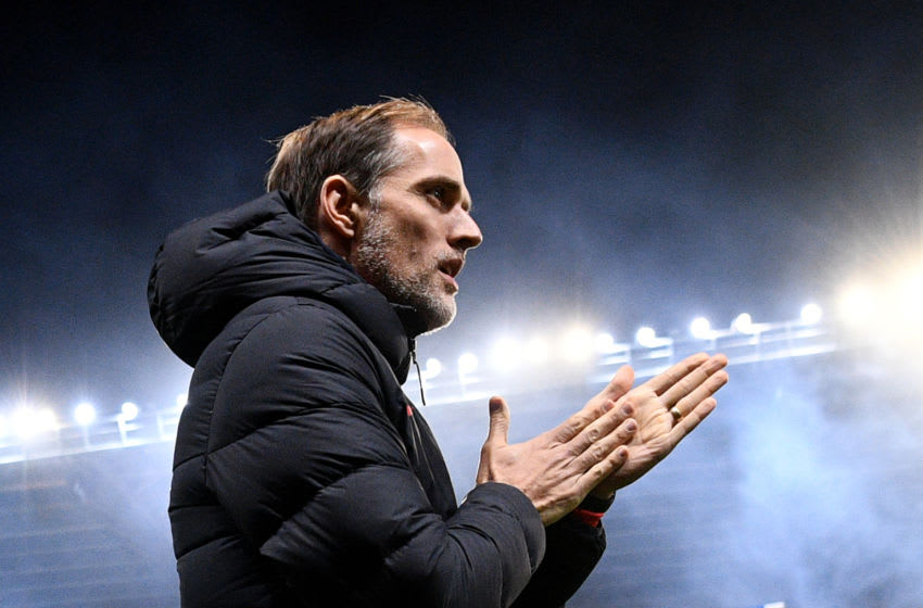 Paris Saint-Germain's German head coach Thomas Tuchel reacts during the French League Cup round of sixteen football match between Le Mans FC and Paris Saint-Germain (PSG), on December 18, 2019, at the MMArena Stadium, in Le Mans, northwestern France. (Photo by FRANCK FIFE / AFP) (Photo by FRANCK FIFE/AFP via Getty Images)