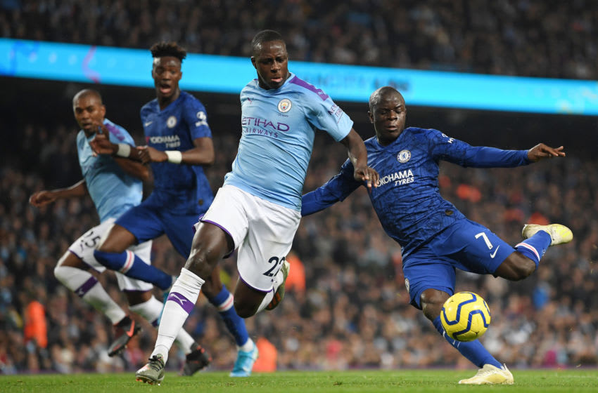 MANCHESTER, ENGLAND - NOVEMBER 23: N'Golo Kante of Chelsea scores his team's first goal during the Premier League match between Manchester City and Chelsea FC at Etihad Stadium on November 23, 2019 in Manchester, United Kingdom. (Photo by Michael Regan/Getty Images)