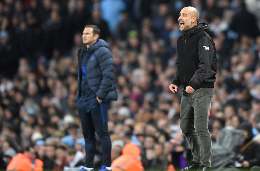 MANCHESTER, ENGLAND - NOVEMBER 23: Pep Guardiola, Manager of Manchester City gives his team instructions as Frank Lampard, Manager of Chelsea looks on during the Premier League match between Manchester City and Chelsea FC at Etihad Stadium on November 23, 2019 in Manchester, United Kingdom. (Photo by Michael Regan/Getty Images)
