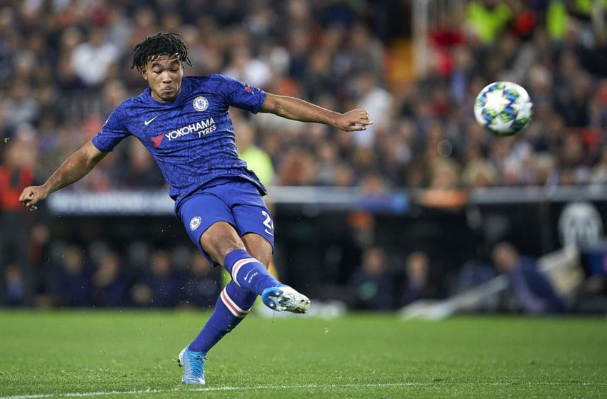 VALENCIA, SPAIN - NOVEMBER 27: Reece James of Chelsea in action during the UEFA Champions League group H match between Valencia CF and Chelsea FC at Estadio Mestalla on November 27, 2019 in Valencia, Spain. (Photo by Manuel Queimadelos Alonso/Getty Images)