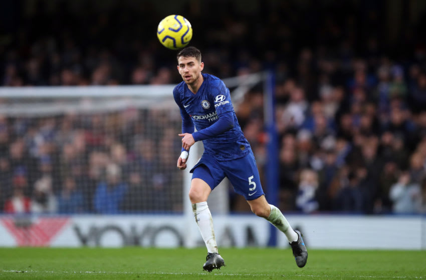 LONDON, ENGLAND - DECEMBER 26: Jorginho of Chelsea during the Premier League match between Chelsea FC and Southampton FC at Stamford Bridge on December 26, 2019 in London, United Kingdom. (Photo by Marc Atkins/Getty Images)
