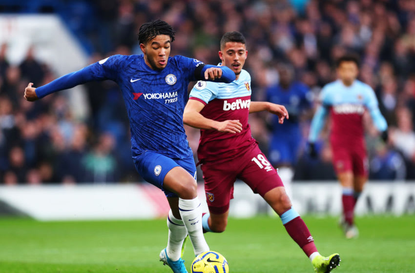LONDON, ENGLAND - NOVEMBER 30: Reece James of Chelsea battles for possession with Pablo Fornals of West Ham United during the Premier League match between Chelsea FC and West Ham United at Stamford Bridge on November 30, 2019 in London, United Kingdom. (Photo by Clive Rose/Getty Images)