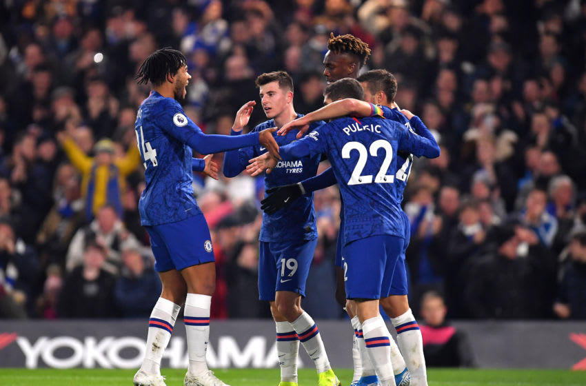 LONDON, ENGLAND - DECEMBER 04: Tammy Abraham of Chelsea celebrates with teammates after scoring his team's first goal during the Premier League match between Chelsea FC and Aston Villa at Stamford Bridge on December 04, 2019 in London, United Kingdom. (Photo by Justin Setterfield/Getty Images)