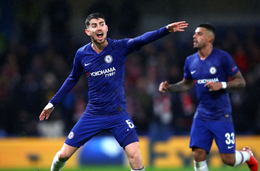 LONDON, ENGLAND - DECEMBER 10: Jorginho of Chelsea reacts during the UEFA Champions League group H match between Chelsea FC and Lille OSC at Stamford Bridge on December 10, 2019 in London, United Kingdom. (Photo by Julian Finney/Getty Images)