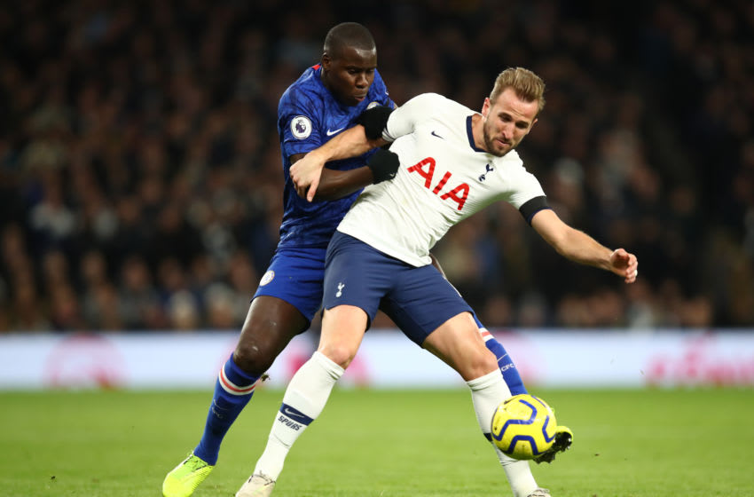 LONDON, ENGLAND - DECEMBER 22: Kurt Zouma of Chelsea tackles Harry Kane of Tottenham Hotspur during the Premier League match between Tottenham Hotspur and Chelsea FC at Tottenham Hotspur Stadium on December 22, 2019 in London, United Kingdom. (Photo by Julian Finney/Getty Images)