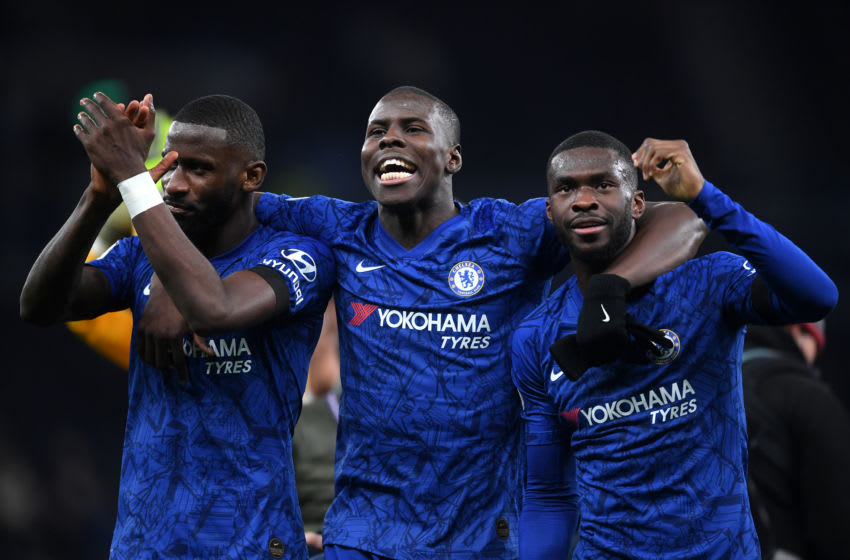 LONDON, ENGLAND - DECEMBER 22: (L-R) Antonio Rudiger, Kurt Zouma and Fikayo Tomori of Chelsea celebrate during the Premier League match between Tottenham Hotspur and Chelsea FC at Tottenham Hotspur Stadium on December 22, 2019 in London, United Kingdom. (Photo by Michael Regan/Getty Images)